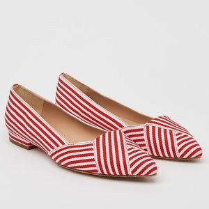 LK Bennet Savannah Red Striped Pointed Toe Flats